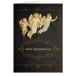 Merry Christmas in Greek, chalkboard effect Greeting Card