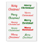 "[ Thumbnail: ""Merry Christmas!"" in Green, Red Temporary Tattoos ]"