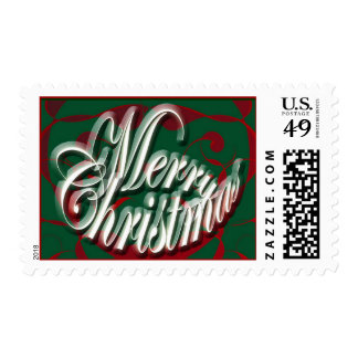Merry Christmas in Green Stamp