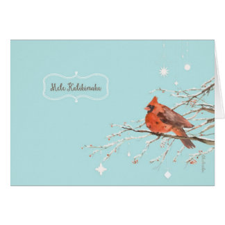 Merry Christmas in Hawaiian, red cardinal bird, Card