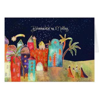 Merry Christmas in Irish Gaelic, Bethlehem Greeting Card