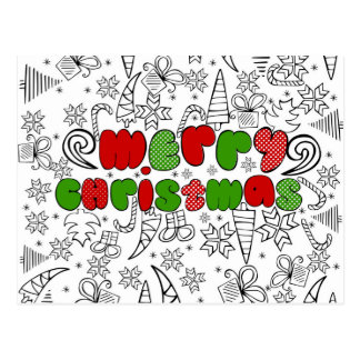 """""""Merry Christmas"""" in kid's drawnings style Postcard"""