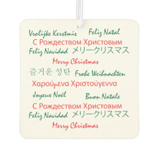 Merry Christmas in Many Languages Air Freshener