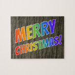 "[ Thumbnail: ""Merry Christmas!"" in Rainbow Text; Faux Wood Look Jigsaw Puzzle ]"