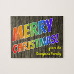 "[ Thumbnail: ""Merry Christmas!"" in Rainbow Text, Faux Wood Look Jigsaw Puzzle ]"