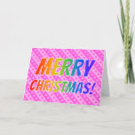 "[ Thumbnail: ""Merry Christmas!"" in Rainbow Text + Pink Hearts Card ]"