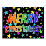 "[ Thumbnail: ""Merry Christmas!"" in Rainbow Text + Stars Pattern Postcard ]"