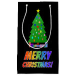 "[ Thumbnail: ""Merry Christmas!"" in Rainbow Text + Tree, Gifts Gift Bag ]"