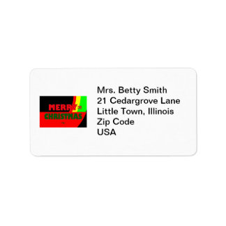 Merry Christmas in Rasta Colors Personalized Address Label