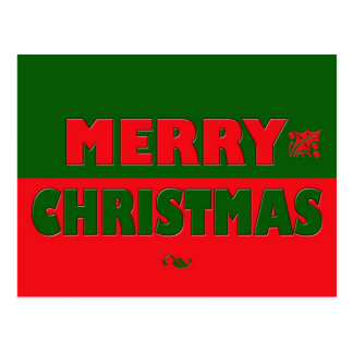 Merry Christmas in Red and Green Postcard