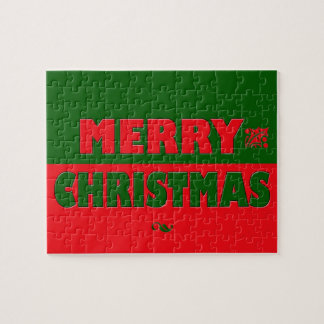 Merry Christmas in Red and Green Puzzle