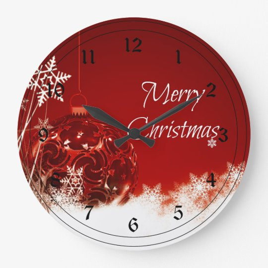 Merry Christmas In Red And White Large Clock Zazzle Com