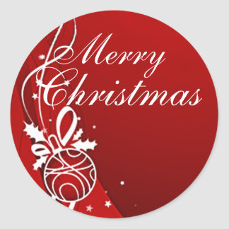 MERRY CHRISTMAS in RED by SHARON SHARPE Classic Round Sticker