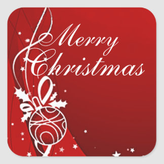 MERRY CHRISTMAS in RED by SHARON SHARPE Square Sticker