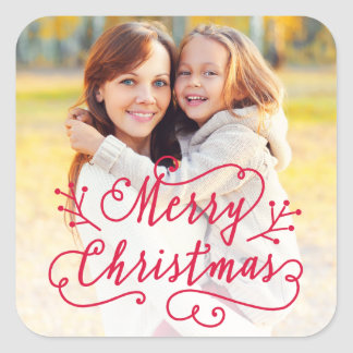 Merry Christmas in Red Script | Holiday Photo Square Sticker
