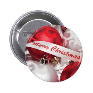 Merry Christmas in Red Silver White Pin