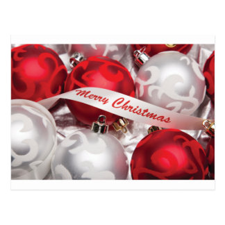 Merry Christmas in Red Silver White Postcard
