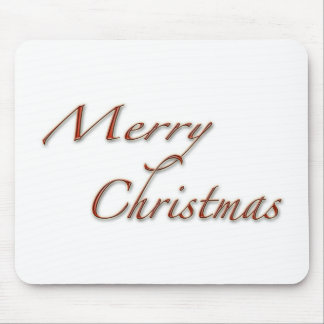 Merry Christmas in Red Text Mouse Pad