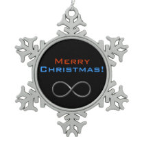 Merry Christmas Infinity | Geek Gifts Snowflake Pewter Christmas Ornament