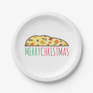 Merry Christmas Italian Fruitcake Biscotti Plates