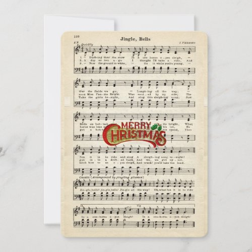 Merry Christmas, Jingle Bells, Vintage Sheet Music