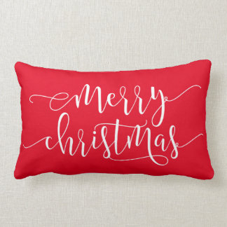 Merry Christmas,Joy Red Lumbar Pillow