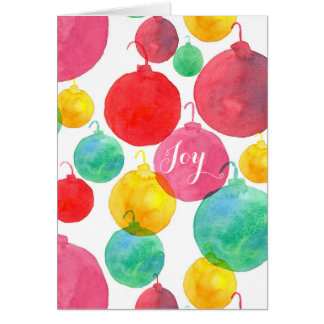 Merry Christmas Joy Watercolor Ornaments Card