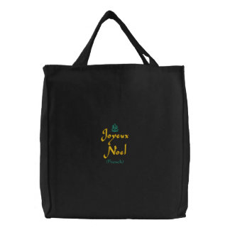 Merry Christmas Joyeux Noel In Black III Embroidered Tote Bag