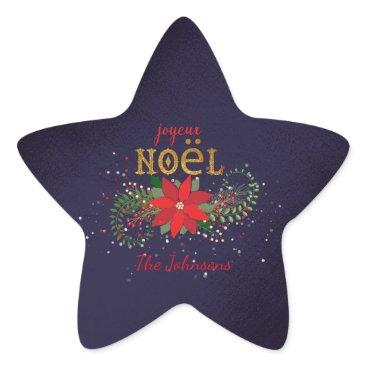 Christmas Themed Merry Christmas Joyeux Noel Star Navy French Star Sticker