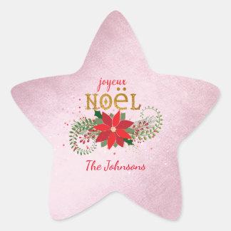 Merry Christmas Joyeux Noel Star Pink French Star Sticker