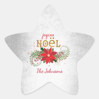 Merry Christmas Joyeux Noel Star Silver French Star Sticker