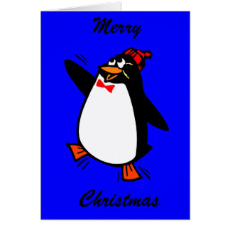 Merry Christmas Joyful Penguin in Hat and Bow Tie Card