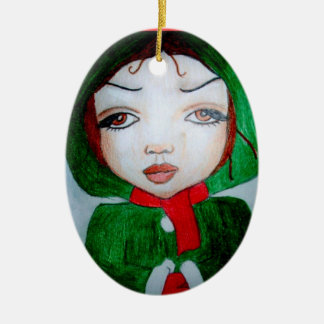 Merry Christmas julgransprydnad oval Ceramic Ornament