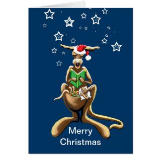 Merry Christmas kangaroo and joey Card