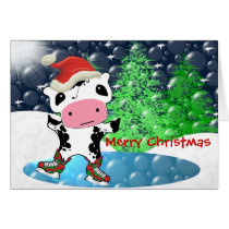 Merry Christmas Kawaii Cow Card
