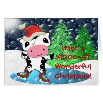 Merry Christmas Kawaii Cow - Customized Card