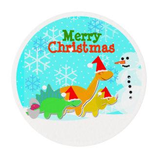 Merry Christmas Kawaii Dinosaurs Holiday Edible Frosting Rounds
