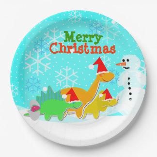 Merry Christmas Kawaii Dinosaurs Snowman 9 Inch Paper Plate