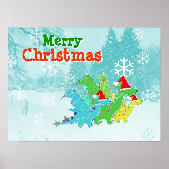 Merry Christmas Kawaii Dragons Poster