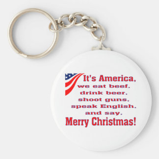 Merry Christmas Basic Round Button Keychain