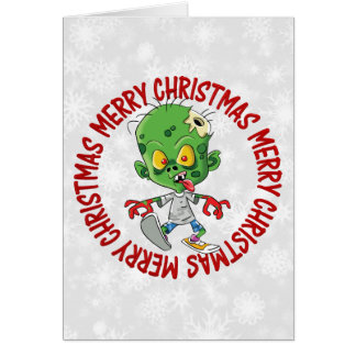 Merry Christmas Kid Zombie Greeting Card