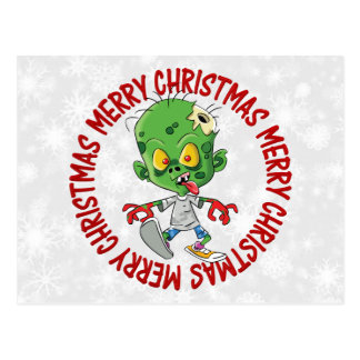 Merry Christmas Kid Zombie Postcard