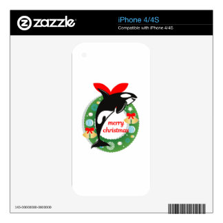 merry christmas killer whale iPhone 4S skins