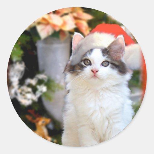 Merry Christmas Kitten Stickers