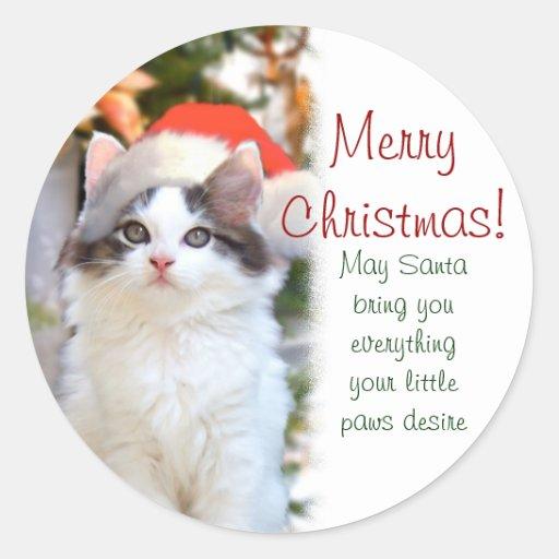 Merry Christmas Kitten Stickers w/verse