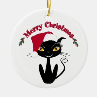 Merry Christmas Kitty Cat Ceramic Ornament