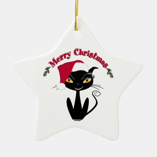Merry Christmas Kitty Cat Double-Sided Star Ceramic Christmas Ornament