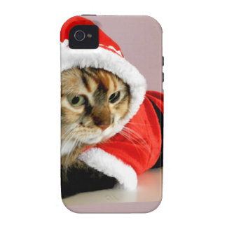 Merry Christmas kitty cat Santa suit iPhone 4 Case