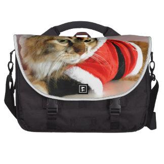 Merry Christmas kitty cat Santa suit Laptop Messenger Bag