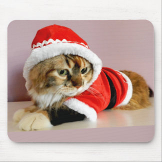 Merry Christmas kitty cat Santa suit Mouse Pad